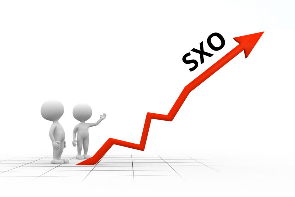 SXO courbe croissance positive rouge et bonhommes