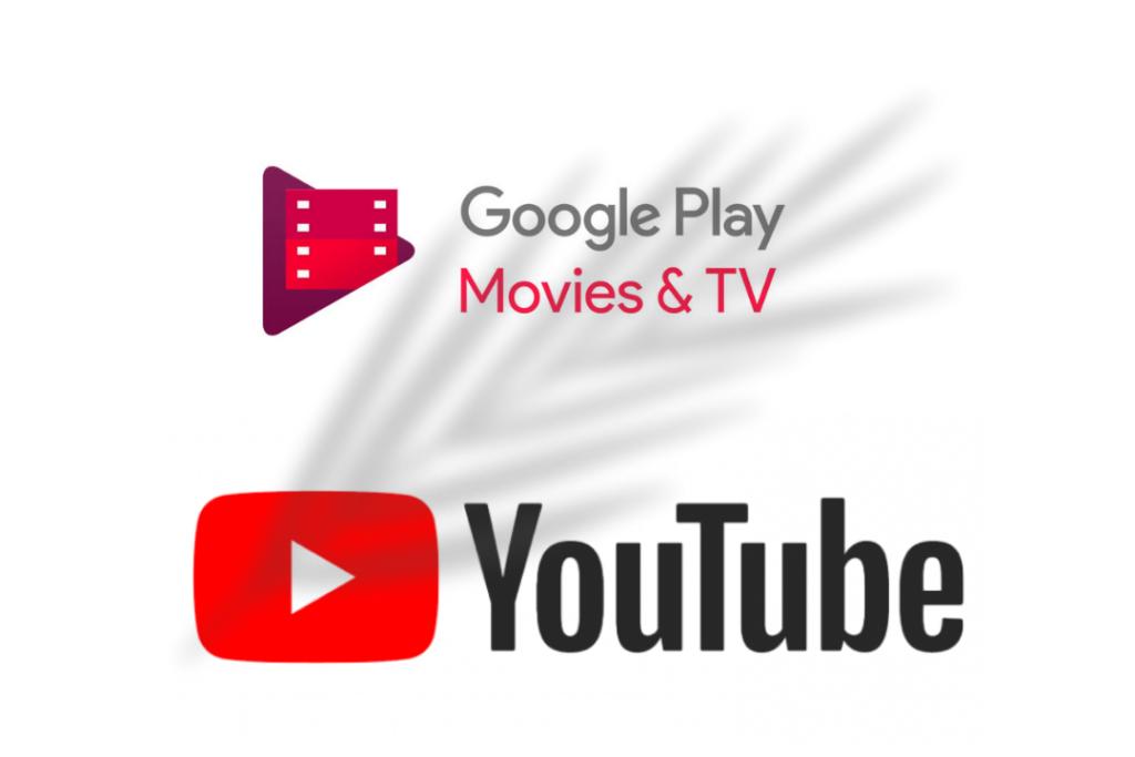 Google Play Movies & TV logo ombre YouTube